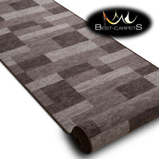 Modern HALL Runner Rugs 'ICONA' brown NON-slip Stairs Width 67-120cm extra long