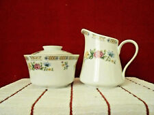 Liling Fine China Ling Rose Creamer & Sugar Bowl w/Lid Set Preowned