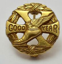 Vintage 10K Yellow Gold Top Goodyear 10 Year Employee Pin w/Mercury's Heel