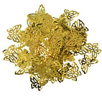 50pcs Filigree Hollow Butterfly Cut Pendant Charms Jewelry Making Finding