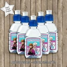 FROZEN ELSA & ANNA BIRTHDAY PARTY PERSONALISED GLOSS POPTOP DRINK LABELS x12