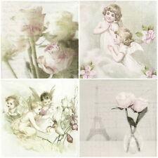 Papel 4x Servilletas Para Decoupage Sagen Vintage Rosas Ángeles-Mix