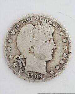 Circulated Antique Barber 1903 50 Cents Half Dollar Silver American Coin USA