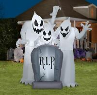 6' Gemmy Airblown Inflatable Short Circuit Ghost Trio Tombstone Scene Halloween
