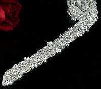 1 Yard Bridal Rhinestone Trim Crystal Rhinestone Applique DIY Bridal Sash Belt