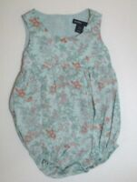 INFANT GIRLS BABY GAP GREEN & ORANGE FLORAL BUBBLE OUTFIT SIZE 0-3 MONTHS