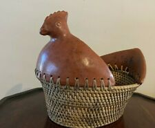 Vintage Woven Basket with Leather Hen Detail Rare