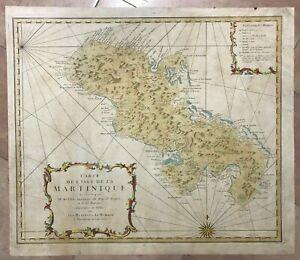 MARTINIQUE ISLAND 1762 HOMANN HRS LARGE ANTIQUE ENGRAVED SEA CHART 18TH CENTURY