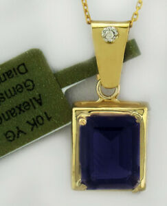 ALEXANDRITE 3.76 Cts & GENUINE DIAMOND PENDANT 10k GOLD * New With Tag *