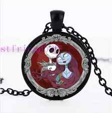 Jack And Sally Love Photo Cabochon Glass Black Chain Pendant Necklace