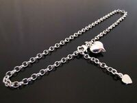 """3mm Genuine 925 Sterling Silver Anklet Ankle Chain Dangle Heart Charm 9.5"""" 24cm"""
