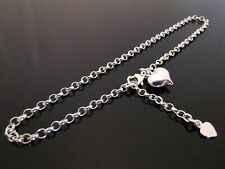 "3mm Genuine 925 Sterling Silver Anklet Ankle Chain Dangle Heart Charm 9.5"" 24cm"