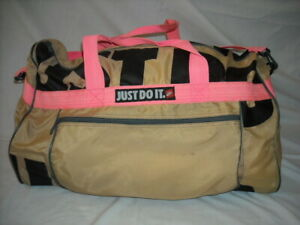 """Vintage NIKE """"Just Do It"""" Tan Gym Sports Duffle Bag Pink Strap Zippered RN56323"""