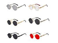 Men's UV400 Gothic Steampunk Sunglass Women Mirror Round Shades glasses Eyewear