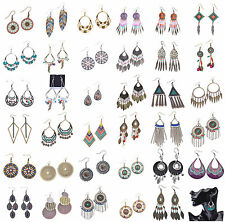 Wholesale Lots 12 Pairs Mixed Design Women Vintage Bohemian Drop/Dangle Earrings