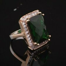 925 Sterling Silver Emerald Vintage Turkish Handmade Ring 6-12