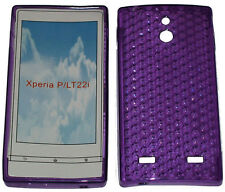 For Sony Xperia P LT22i LT22 Pattern Soft Gel Case Protector Cover Purple New UK