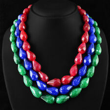 1210.50 CTS EARTH MINED RUBY, EMERALD & SAPPHIRE PEAR FACETED BEADS NECKLACE