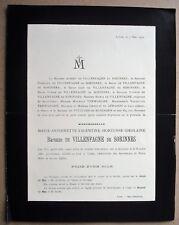 Faire-part décès Baronne Marie-Antoinette de Villenfagne de Sorinnes. - 1900.