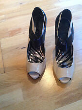 river island cream and black peep toe shoes size 7