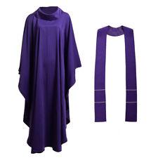 Purple Catholic Church Chasuble Priest Vestments Robe Clegy Apparel Cowl Collar