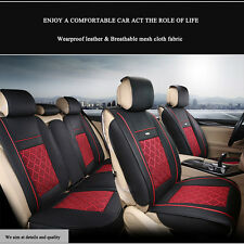 PU Leather&Cooling Mesh Seat Covers Universal 5-Seats Car Front+Rear 7pc SUV Set