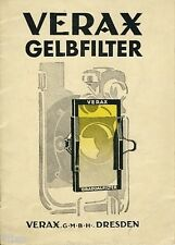 Verax GmbH Dresden Gelbfilter Prospekt Fotografie Kamera Zubehör um 1928