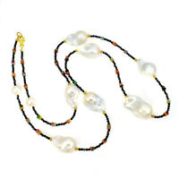 Unheated Tourmaline 4x2mm Black Spinel Pearl 925 Sterling Silver Necklace 29.5