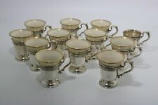 Gorham Durgin Sterling Silver Demitasse Cups Olive Branch with Lenox Liners