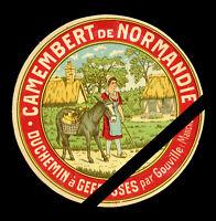 Original Vintage French Cheese Label: Camembert De Normandie