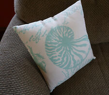 NAUTILUS SHELL DESIGN Nautical Aqua Blue Sailboat Beach Decor Couch Throw Pillow