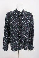 Tommy Hilfiger Women's Blouse Button Shirt XL Multi-Color Leaf Print Fall Autumn