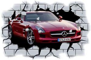 Huge 3D Mercedes Benz SLS AMG Crashing through wall View Sticker Mural Decal 86