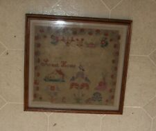 "Antique 16x16"" Framed Paper Punch Embroidery Cross Stitch Sampler Sweet Home"