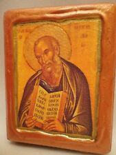 Saint John Theologian Greek Orthodox Byzantine Rose Gold Christian Icon on Wood
