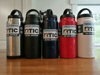 NEW RTIC 18oz Water Bottle Insulated Thermos - Navy, Red, Stainless, White