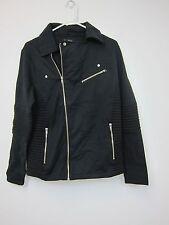 Boohoo Jersey Ribbed Biker Jacket - Mens Medium - Black - NWT