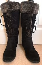 Ladies Black Knee High Wedge Boots size 7 / 40