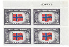 911 NORWAY NAME PLATE BLOCK OF FOUR STAMPS, FREE SHIPPING IN USA