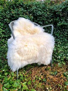 XXL LARGE 110cm by 70cm Genuine Fluffy British Cream Sheepskin Rug A+++