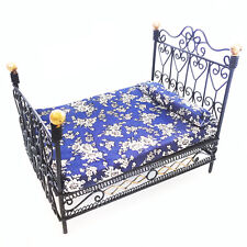 Dollhouse Furniture 1:12 Miniature Metal European Double Bed with Mattress
