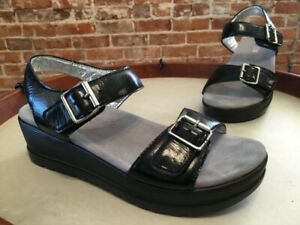 Alegria Black Mirror Leather Morgyn Ankle Strap Wedge Sandals 40 9.5 - 10 New