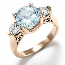 Aquamarine and Diamond Three stone ring in 14k Rose Gold Siz. 4 to 9 R1238 F-SI2