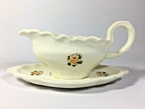 Vintage Ceramic Gravy Boat with Plate Yellow Rose 1983