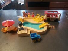 Vintage Fisher Price Little People Swimming Pool 2526 w/Accessories,mini bus