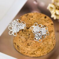 Genuine 925 Sterling Silver Women Elegant Filigree Flower Crystal Stud Earrings