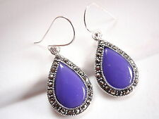 Blue Lapis Marcasite Earrings Sterling Silver Dangle Corona Sun Jewelry