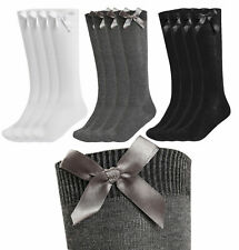 1,3,6 Pairs Girls knee high bow socks school uniform party back to school UK