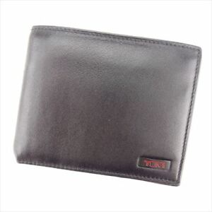 Tumi Wallet Purse Bifold Black Red leather Mens Authentic Used L2461