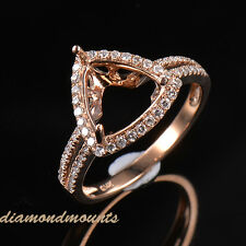 9.5MM Trillion Cut Solid 14K Rose Gold Natural Diamond Semi Mount Ring Setting
